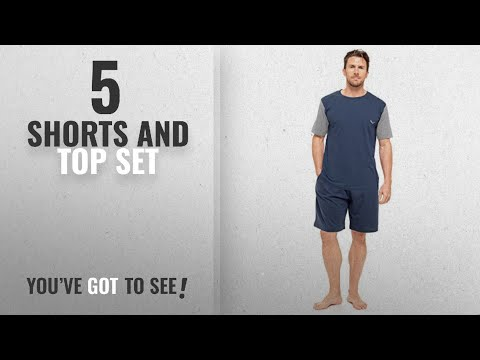 Top 10 Shorts And Top Set [2018]: Mens T-Shirt Top & Shorts Pyjama Set Loungewear Cotton S-XL (1 or