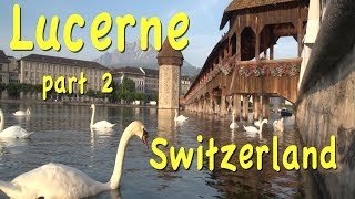 Subscribe now:  http://bit.ly/2pmdyeuLucerne playlist:  http://bit.ly/2twxBWUSwitzerland playlist  http://bit.ly/2qsUismLucerne, Switzerland is one of the world's most attractive towns, on a beautiful lake with tall mountains in the distance.  We take you on a sunrise walk by the river watching swans glide by, then have a look at the farmers' produce market along the river, and antique sale. Then we walk through the new side of town, with chocolate shops, busy urban neighborhoods, and popular restaurants.  There are some good hotels in that section but later we take you to our favorite, the Hotel des Balances, right on the river.  You've got to see the Lion Monument and shop for souvenirs. Lucerne has the largest transportation museum in Switzerland, along the lake just 2 miles from town, with old trains, planes, cars and boats. Then we have a great meal at the Old Swiss House, and some traditional Swiss music and dance at the Stadtkeller, the best show in town.http://tourvideos.com/