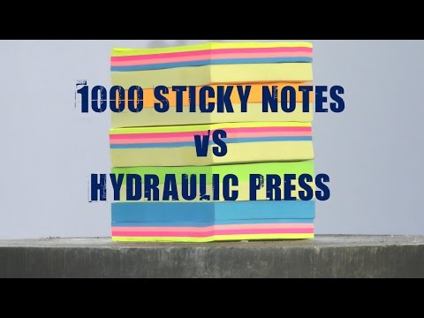 強大的液壓機再度挑戰1000張便利貼!畫面簡直有如「放煙火」般的驚人!