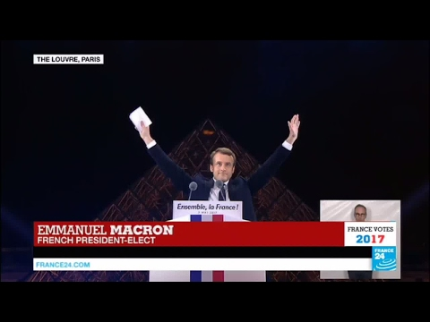 France: President-Elect Emmanuel Macron addresses crowds at the Louvre Museum