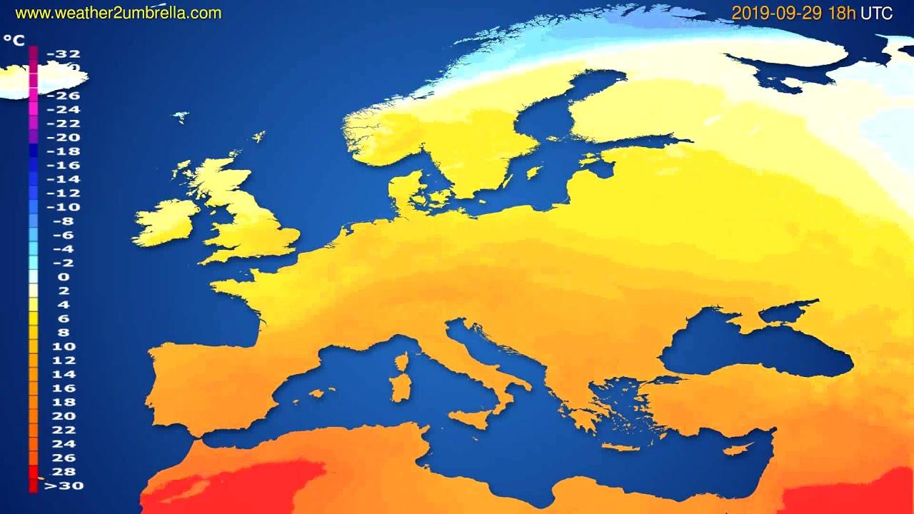 Temperature forecast Europe // modelrun: 00h UTC 2019-09-27