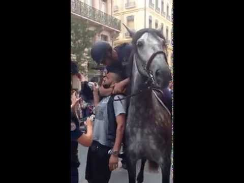 French mounted police arrest motorcycle passenger (видео)
