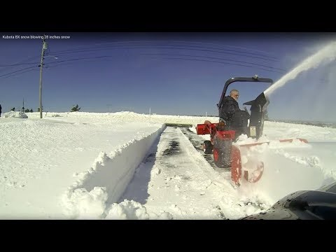 Snow blowing 28 inches Kubota BX GoPro view