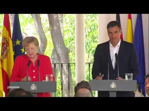 Angela Merkel und Pedro Sanchéz zur Migration am 11.0 ...