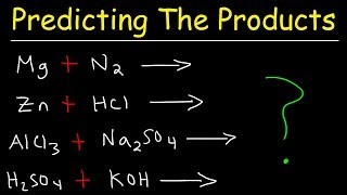 This chemistry video tutorial explains the process of predicting the products of chemical reactions.  This video contains plenty of examples and practice problems of predicting the products of different types of chemical reactions such as combination reactions, combustion reactions, decomposition reactions, synthesis, single replacement reactions, double replacement and acid base neutralization reactions.New Chemistry Video Playlist:https://www.youtube.com/watch?v=bka20Q9TN6M&t=25s&list=PL0o_zxa4K1BWziAvOKdqsMFSB_MyyLAqS&index=1Access to Premium Videos:https://www.patreon.com/MathScienceTutorFacebook:  https://www.facebook.com/MathScienceTutoring/