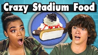 TEENS EAT CRAZY STADIUM FOOD! | Teens Vs. Food