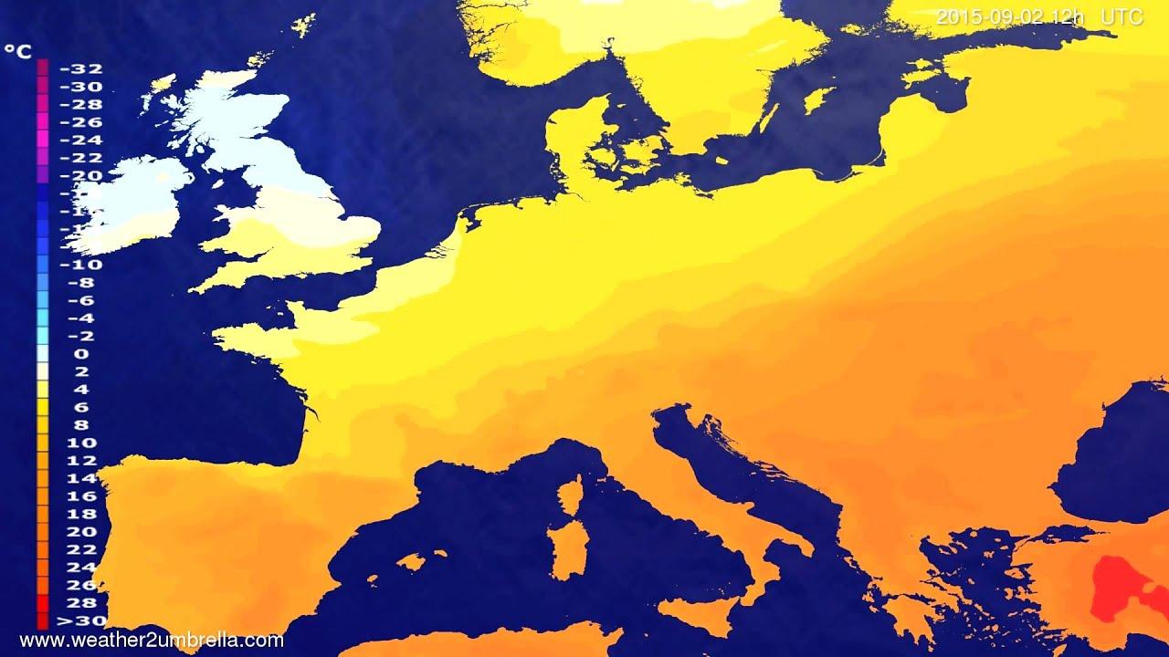 Temperature forecast Europe 2015-08-29
