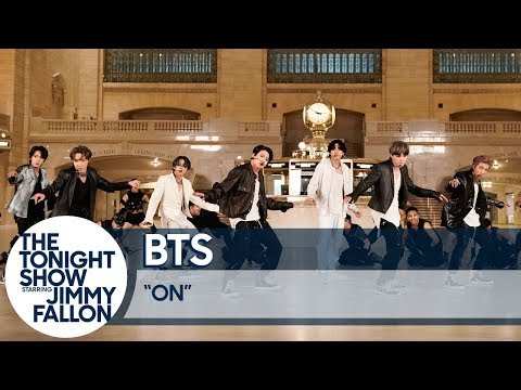 """BTS Performs """"ON"""" at Grand Central Terminal for The Tonight Show"""