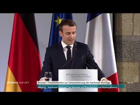 Reden von Angela Merkel und Emmanuel Macron zur Unter ...