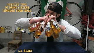 """NEW!! PATREON: Please Help Support My Future Goals....https://www.patreon.com/LABEAST   Have you ever wondered what the Fastest Time in the world to chug 6 beers up your nose is? Well for the L.A. BEAST he most certainly did wonder this thought and after doing extensive research, he could not find any such record in existence. There are people who can drink beer while doing headstands, those who can drink it through their ear, and a select few have been able to drink beers through their nose directly from the cup. After being featured on a viral beer drinking video a few weeks back The L.A. BEAST, aka """"The Handyman"""" (because he uses a power drill to chug beers) decided to utilize his skills and figure out a way to open 6 beers using CD (compact disk) and then power chug them through his nose like an absolute boss. HEre is what happened....Please sit back, relax and enjoy!! Please Subscribe for More L.A. BEAST Antics:https://www.youtube.com/user/skippy62able   BRAND NEW L.A. BEAST T-SHIRTS & HOODIES!!!https://thrilled.com/brands/labeastNEW!!! Get your L.A. BEAST """"Have A Good Day"""" Sticker here:http://mkstk.co/labeastFollow My Daily Vlogs.... I swear A Lot. They are Funny. That is all.https://www.youtube.com/channel/UCrfgIZx8kunMJdu0OZupgFA  Download """"The Crystal Pepsi Song"""" by clicking link below:https://itunes.apple.com/us/album/crystal-pepsi-song-feat.-thats/id1024817772?i=1024817779&ign-mpt=uo%3D4T-SHIRTS: http://labeast.spreadshirt.com/?nocache=trueSNAPCHAT. LABEAST62INSTAGRAM: http://www.instagram.com/labeast62/#TWITTER: https://twitter.com/#!/KevLAbeastFACEBOOK: https://www.facebook.com/pages/La-Beast/234004536649803?bookmark_t=pageWEBSITE: http://www.labeast.comMUSIC IN THIS VIDEO IS ROYALTY FREE MUSIC AND PROVIDED BY: WWW.INCOMPETECH.COM """"Perspectives"""" Kevin MacLeod (incompetech.com)Licensed under Creative Commons: By Attribution 3.0http://creativecommons.org/licenses/by/3.0/"""