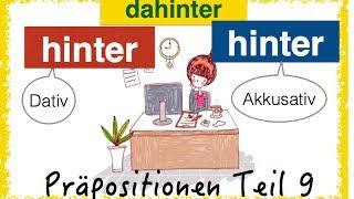 """German Prepositions - two-way-prepositions, in this video: HINTER (behind) and the adverb DAHINTER (behind it) and DAHINTEN (over there). The German prepositions are one of the hardest grammar, for sure. You have to learn it step by step, with examples and pictures - and of course exercises!Donate on Paypal for a new laptop AND get a free ebook!:https://www.paypal.com/cgi-bin/webscr?cmd=_s-xclick&hosted_button_id=86FVQMMVFUSGWOR come on Patreon!https://www.patreon.com/FreeGermanLessons""""HINTER"""" is a changing preposition or two-way-prepositon, Wechselpräposition in German. It takes accusative and dative.Dative: WO? - where?Accusative: WOHIN? - where to? change of place from A to B.Beispiele: 1. WO? DativJeden Tag sitzt sie 8 Stunden hinter dem Bildschirm!Das Mädchen versteckt sich hinter dem großen Baum.Der Hase versteckt sich hinter den bunten Eiern.Schließt du bitte die Tür hinter dir, wenn du gehst?Ja, ich schließe hinter miretw. hinter sich lassen Sie haben die Prüfung hinter sich undmachen jetzt Party!Ich bin nach Deutschland gekommen und habe mein Leben hinter mir gelassen.Ich habe eine stressige Streit hinter mir.Wenige Kilometer hinter Berlin gibt es viele kleine Städte.Sie sitzt gerne hinter dem Lenkrad  (hinterm)Er steht den ganzen Tag hinter dem Ladentisch (hinterm)Im Kino sitze ich immer hinter einer großen Person.Er ist im Gefängnis=  Er sitzt hinter Gittern. Was ist wohl hinter der Tür?Die Sonne geht hinter den Bäumen auf.Achtung, hinter dir!2. WOHIN (Akkusativ)etw. hinter sich bringenWir haben das Projekt erfolgreich hinter uns gebracht!Ich habe schon 10 Kilometer hinter mich gebracht!Meine Freundin stellt sich hinter mich3. dahinter - dahintenSiehst du den Elch dahinten?Ja. Siehst du die Wildschweine dahinter?Wir wohnen in einem Haus, dahinter ist einschöner Garten. Siehst du das Reh dahinten?Heiße Luft und nichts dahinter!Wenn du einen Parkplatz suchst, kannst du dich dahinter stellen (=hinter das Auto).Wer hat den Streich gespielt? Wir werden dahinte"""