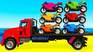COLOR MOTORBIKE on TRUCK and Spiderman Cars Cartoon for Kids &...