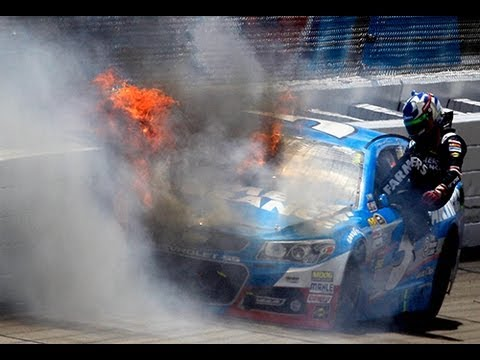 wrecks - Kasey Kahne's car catches fire after hitting the wall. For more NASCAR news, check out: http://www.NASCAR.com.