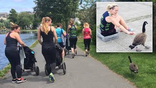 """Moms on their morning run get a new and unexpected workout partner. The goose they've named """"Graham"""" apparently wanted in on their strength and conditioning class. He joined them for their jog around a lake in the United Kingdom, even following their directions to stay in his lane. InsideEdition.com's Lisa Voyticki (https://twitter.com/LDVNews) has more."""