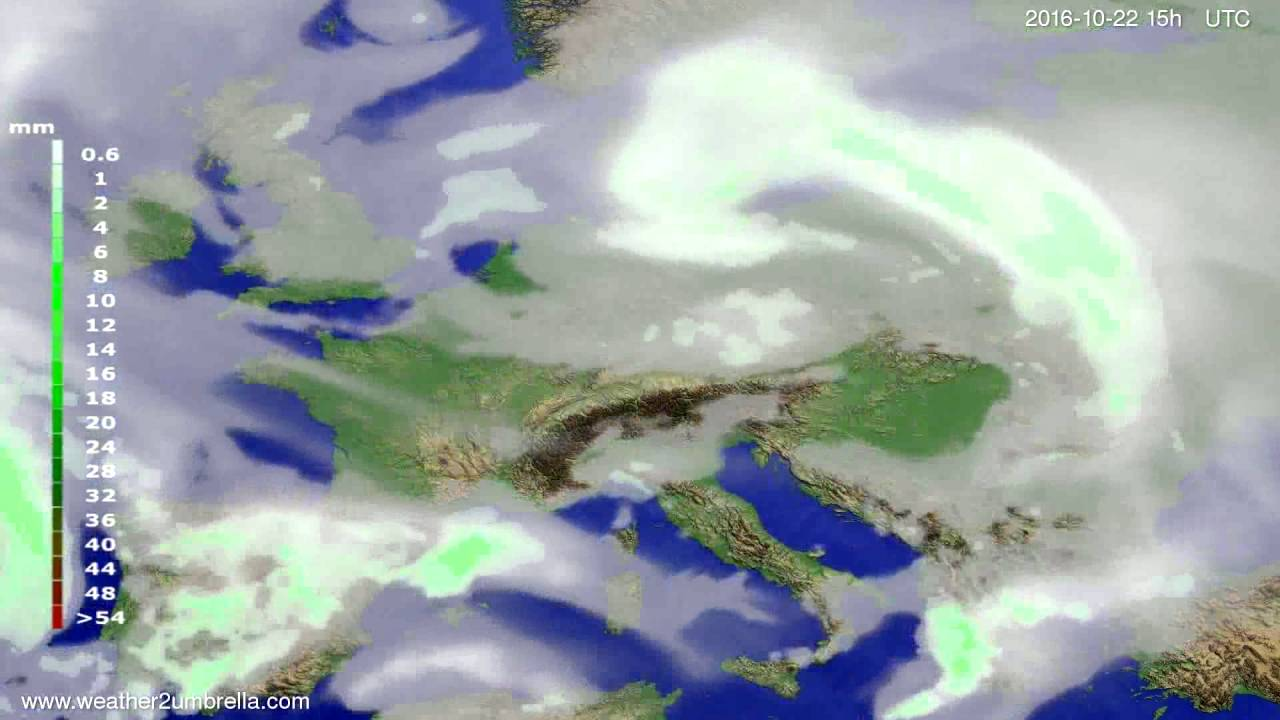 Precipitation forecast Europe 2016-10-20