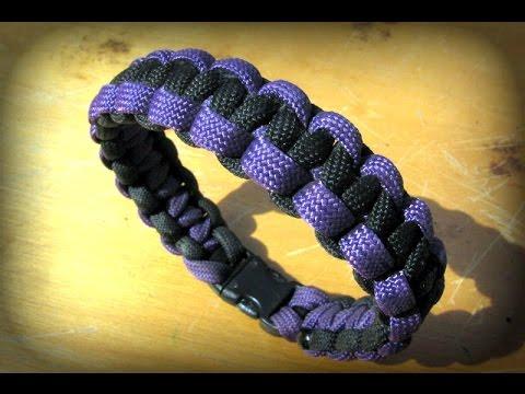 Paracord Armband knüpfen zweifarbig – Anleitung Bracelet Cobra Stitch – Deutsch