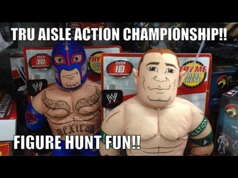 WWE ACTION INSIDER: ToysRus Mattel figure store Brawlin buddies wrestling matches aisle match
