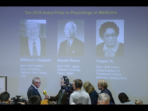 Japanese, Chinese, Irish-born scientists jointly win the 2015 Nobel prize for medicine or physiology for their work against parasitic diseases.