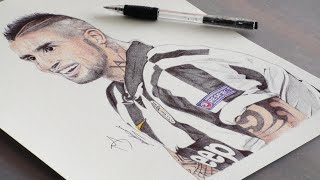 Pen Drawing Of Arturo Vidal - Juventus F.C. - Freehand Art, cup c1,cup c1 chau au,video cup c1,juventus vs Barcelona,