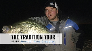 """In this episode of The Tradition Tour Staffers Brent Relopez, Matt Newell, Will Stolski, and Sam Sobieck head up to the Bemidji Area to chase after some BOMB crappies after dark. Filmed and Edited by Sam SobieckMost products shown can be purchased at your nearest Gander Mountain that carries ice fishing gear.http://www.gandermountain.com/Jigs:Clam Pro Tackle Drop-Kick Jighttp://stores.clamoutdoors.com/clam/tackle/jigs/dave-genz-drop-kick.htmlRods:DH Custom Rods Al Dente Noodlehttp://www.dhcustomrods.com/dh-ice-rodsDH Custom Rods Seven Deucehttp://www.dhcustomrods.com/dh-ice-rodsReels:Clam Elite Spoolerhttp://stores.clamoutdoors.com/clam/rods-reels/dave-genz-ice-spooler-elite-reel.htmlSuit:Ice Armor by Clam Lift Suit Bibshttp://www.gandermountain.com/modperl...Ice Armor by Clam Lift Suit Parkahttp://www.gandermountain.com/modperl...Flasher:Vexilar FLX-28http://www.gandermountain.com/modperl...Auger:8"""" K-Drill w/ Milwaukee M18 Fuelhttp://icefishingtoday.com/ice-fishin..."""