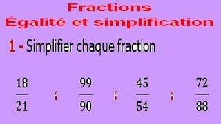 Maths 6ème - Fractions égalité et simplification Exercice 2