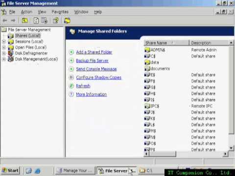 10 การจัดการ Files Server Management บน Server 2003