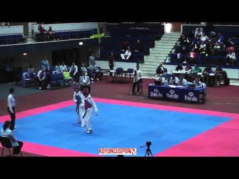 58kg Quarterfinal Zhanat ISKAKOV (RUS) vs (NED) PATTI, Machario (-21 European TKD Champions 2015) (видео)