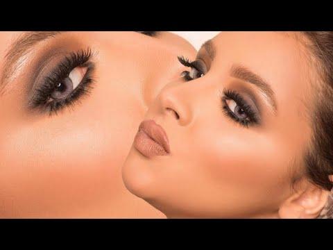 مكياج سموكي بني وتسريحة مع خبيرة التجميل فاطمة الدوسري \\ smokey brown makeup and hair (видео)