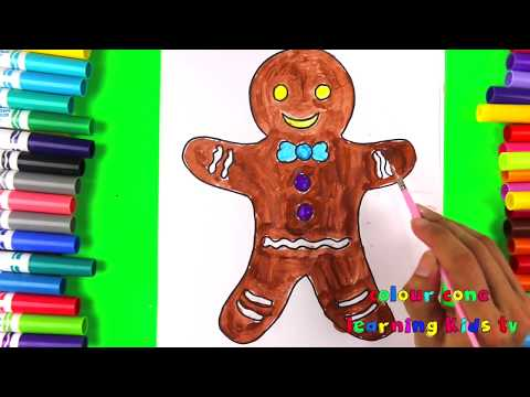 How to Coloring Gingerbread Man | Colouring  for Kids with Colored Markers