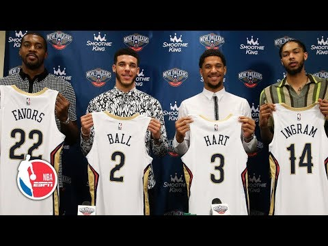 Video: Lonzo Ball, Brandon Ingram, Josh Hart and Derrick Favors introduced by the Pelicans | NBA on ESPN