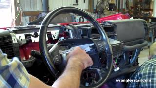 Follow the simple steps in this video to remove a Jeep Wrangler TJ steering wheel. Steering wheels are press onto steering column. This is done to prevent steering wheel from comming of the bolt comes loose or is broken. Using a 3/8 drive ratchet and a 1/2 socket remove center bolt. Next take a steering wheel puller and pull wheel from the splined shaft of the steering column. Be sure to be carefull with the airbag clockspring for it is very fragile and can be easily damaged.