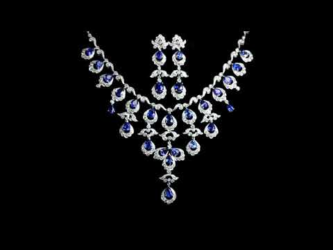 Elegant 18k White Gold 22.50 (TW) Blue Sapphire and Diamond Necklace and Earrings Set