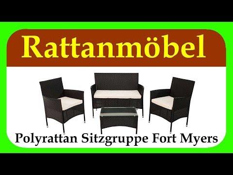 Polyrattan Sitzgruppe Fort Myers | Gartenmoebel Set Rattan guenstig für Balkon, Terrasse und Garten