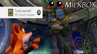 How to make Cortex infuriated in Crash Bandicoot N. Sane Trilogy. To make this secret appear, simply start a new games and go back and forth the portal as shown in the video. The end result is a hidden trophy - Cortex N. Furiated - and some funny dialogue. Want 12 Months of PlayStation Plus with Amazon? http://amzn.to/2nE0LDb (Affiliate Link) (U.S.)http://amzn.to/2nXmamY (Affiliate Link) (U.K.)------------------------------------------------------------------------------------------Are you a YouTube content creator? Click the link to apply for a Curse Partnership: ► https://www.unionforgamers.com/apply?referral=4hw6r7lzcccabp (Affiliate Link)------------------------------------------------------------------------------------------Subscribe to the milkiest channel on the Internet! 。◕ ‿ ◕。►https://www.youtube.com/channel/UCPH28MUR1-Ko5tRQuJf3zmw------------------------------------------------------------------------------------------Social Media!►https://twitter.com/The_Milkbox (Twitter)►http://supermilkbox.tumblr.com/ (Tumblr)►https://www.facebook.com/Super-Milkbox-1380643578903590/?ref=hl (Facebook)------------------------------------------------------------------------------------------Any comments? Just drop them! I reply pretty quick. ------------------------------------------------------------------------------------------Credits:Music that may have been used in this production is provided by Kevin Macleod of incompetech.com