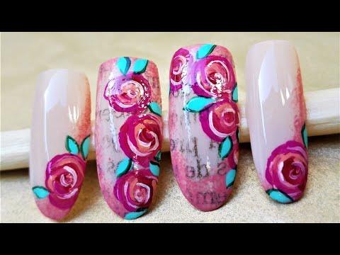Decoracion de uñas - Facil diseño de uñas vintage con rosas - Decoración de uñas rosas - Diseño fácil de uñas rosas Rojas