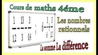Maths 4ème - Les nombres rationnels Somme et Différence Exercice 27