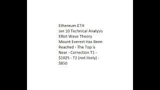 Ethereum ETH - Mount Everest Top Near - Correction T1 - $1025 - T2 not likely - $850