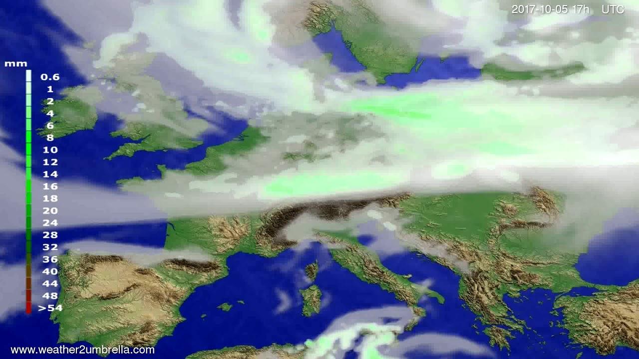 Precipitation forecast Europe 2017-10-03