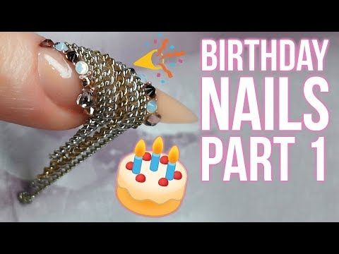 Gel nails - MY BIRTHDAY NAILS - Part 1 - Using Old Jewellery as NAIL BLING!