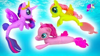 My Little Pony Mermaids Swim In Water With Barbie - MLP Seapony Movie Toys