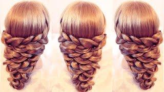 Причёска из кос на резинках