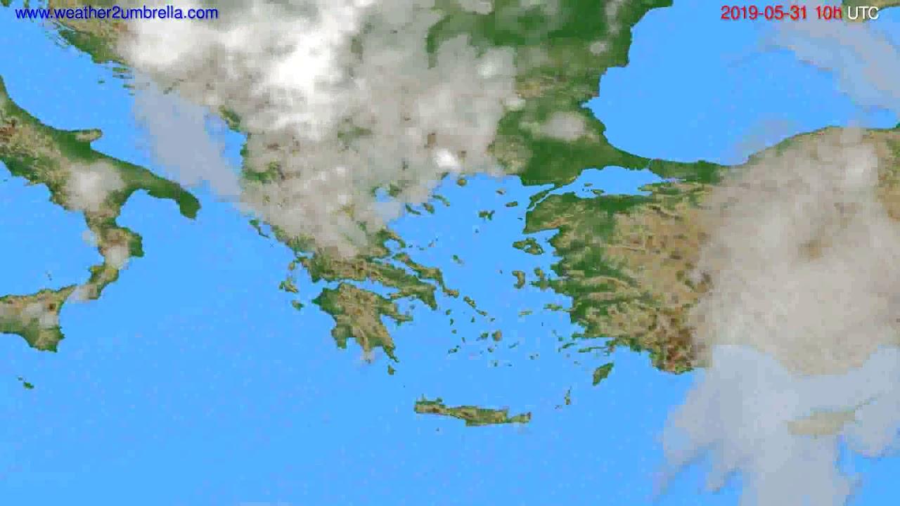 Cloud forecast Greece // modelrun: 12h UTC 2019-05-28