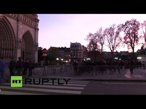 LIVE from outside Notre-Dame Cathedral where evening Mass is due to be held