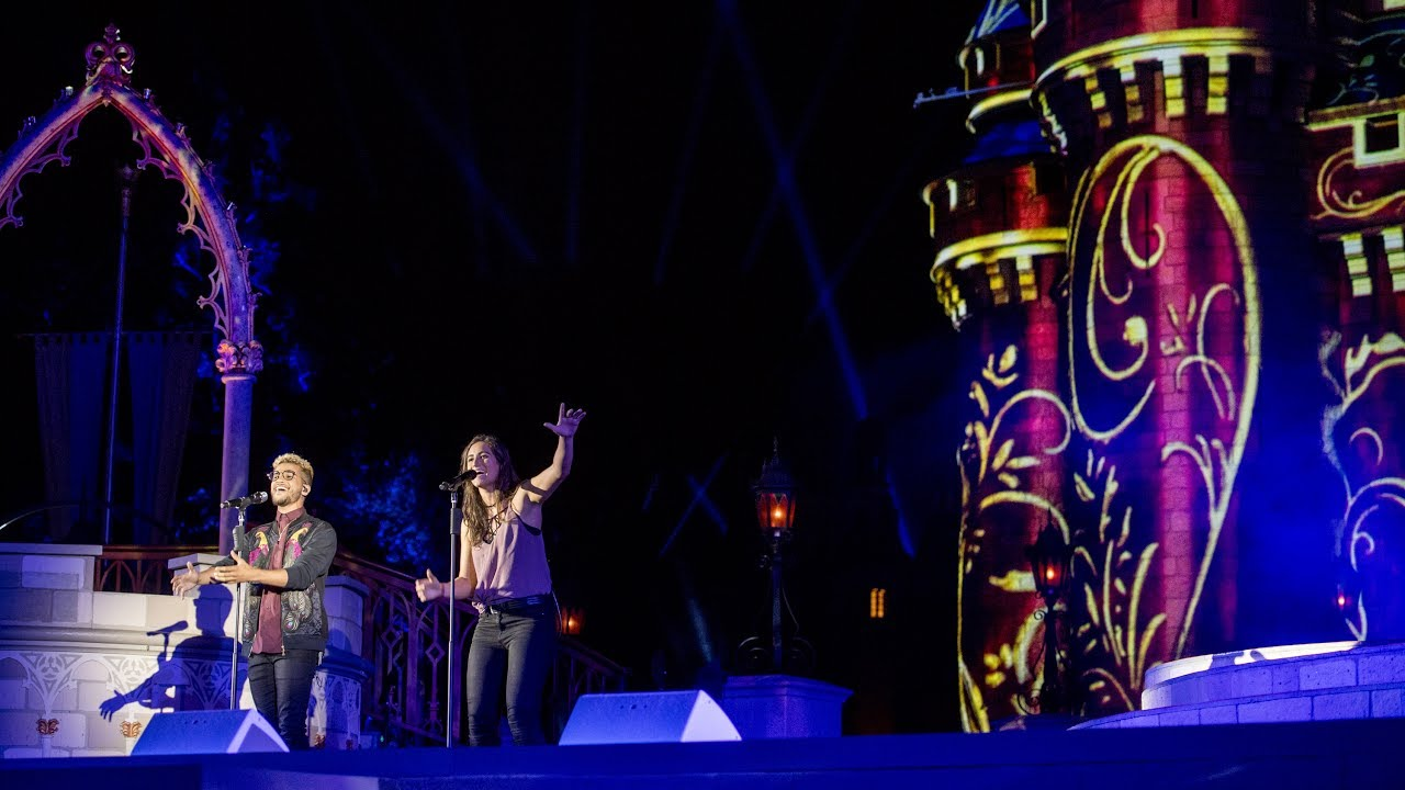 """Jordan Fisher and Angie Keilhauer perform """"Happily Ever After"""" live at the Magic Kingdom"""