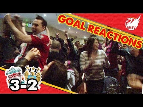 reactions - Recorded at The Sandon Pub outside Anfield, Liverpool fans drink sing, dance and cheer their way through the reds massive 3-2 win over Manchester City. The F...