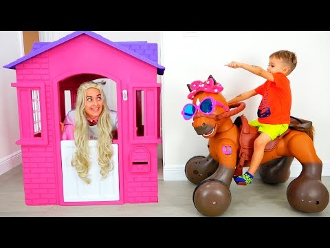 Vlad and Nikita Ride on Toy Horse and help the princess