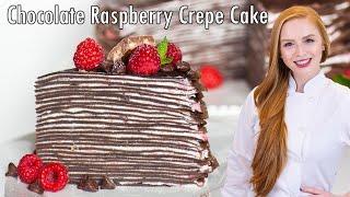 Chocolate Raspberry Crepe Cake