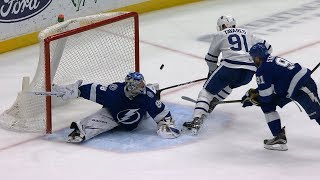 Andrei Vasilevskiy returns from injury for two spectacular saves by NHL