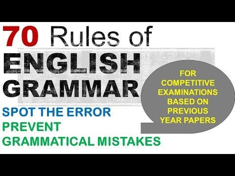 70 English Grammar Rules, English Error Correction, Spot the Error for Bank Exams, SSC entrance exam