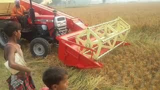 Mini Combine Harvester Machine on MF 9500 58HP